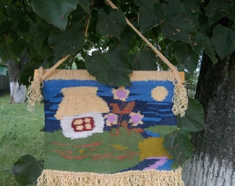 Tapestry handmade, Colorful tapestry,Patterned tapestry,Tapestry with the Ukrainian house,Tapestry with fringe,handmade,Tapestry on the wall
