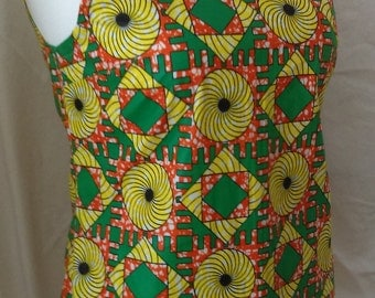 Ladies Shell Top, African wax print, 100% cotton,