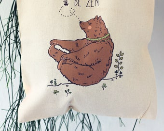Tote bag, Be Zen, bear, Gift for her, Yoga bag