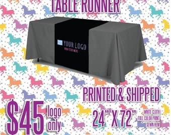 LLR Table Runner - Black w/Full Color Logo - Sewn Hem