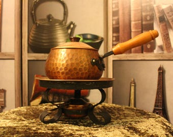 Vintage Hammered Copper Fondue Set