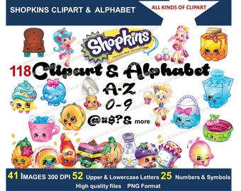 118 SHOPKINS Clipart 300 DPI & Full  Alphabet High Quality Images Png files , Iron On Transfers, Stickers, Decals, Transparent Backgrounds
