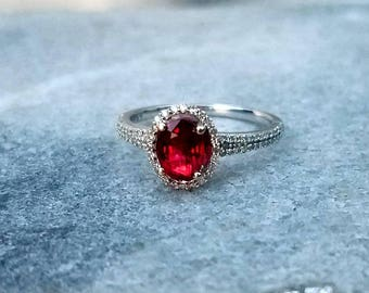 Handmade Red Spinel and diamond Halo 14K White Gold Alternative Engagement Ring