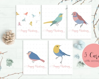 CHRISTMAS CARD Pack, Christmas Card Set, Set Of Cards, Pack Of Christmas Cards With Kraft Envelopes, Christmas Card Handmade 5 Card Set