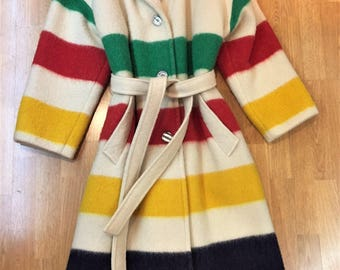 Vintage Hudson's Bay Blanket Striped Wool Coat or Robe - 60s/70s - Made in Canada