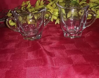 Vintage beautiful glass Cream and Sugar Set