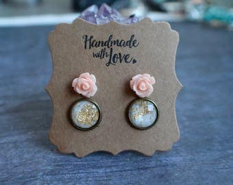 Bohemian Stud Earring Set, Pink Rose Studs, Gold Flake Earrings, 12mm, Stocking Stuffer, Gift
