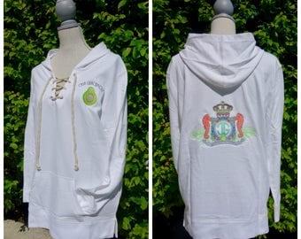 100% cotton Casa Guacamole lace-up hoodie