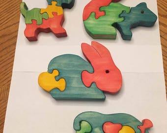 Multicolored animal puzzles