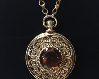 Vintage Avon Filigree Amber Locket on Long Chain