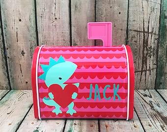 Personalized Valentines Mailbox   Dinosaur Valentines Mailbox   Kids  Valentine Gift   Mini Tin Mailbox