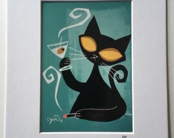 El Gato Gomez Retro Mid Century Modern Jazz Martini Black Cat  Art Print