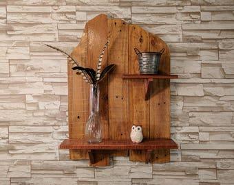 Rustic Offset Pallet Wood Wall Mounted Shelf