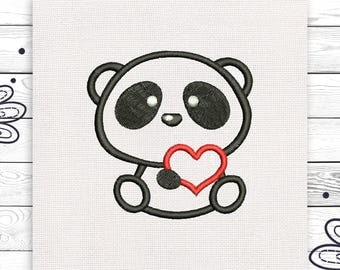 Panda embroidery Bear applique Discount 10% Digital embroidery design 4 sizes INSTANT DOWNLOAD EE5001