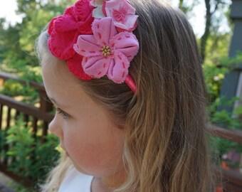 Linen FLOWER BOUQUET HEADBAND - Girls Headband/Pink Headband/Fuchsia Headband