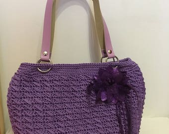 Bag in lilac color swan sewing thread with handles