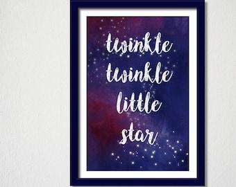Nursery Wall Print/Twinkle Twinkle Print/Printable children print/ twinkle twinkle little star print/ instant download