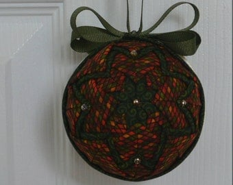 Stained Glass Quilted Christmas Ornament