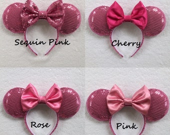 Pink Sequin Minnie Mouse Ears, Sequin Ears, Mickey Mouse Ears, Sequin Mouse Ears - Disney Ears