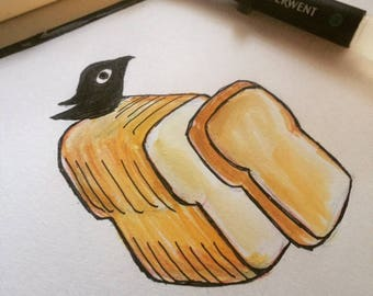 Watercolor Black bird with a Slice of Bread