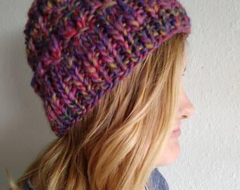 Multi-color Hand Knit Hat