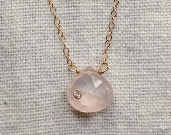 Pink chalcedony, 14k gold, White Topaz setting Gemstone Necklace