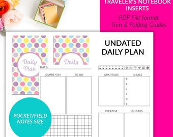Pocket Field Notes Traveler's Notebook Insert - Undated Daily Plan On 2 Pages Calendar Printable