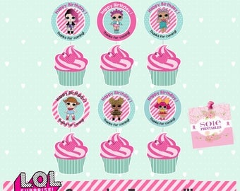 L.O.L Surprise Theme:  – Happy Birthday Cupcake Toppers with LOL Dolls.