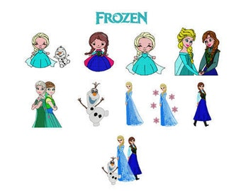 Frozen Machine Embroidery File Design 4x4 and 5x7 inch hoop - 11 designs