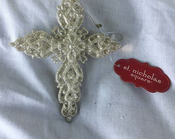 Vintage St. Nicholas Cross Glittery Christmas Tree Ornament,Collector Item