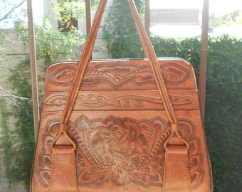 Engraved Leather 70's Bag