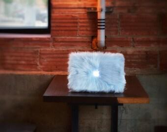 Faux Fur MacBook Case-Baby Blue