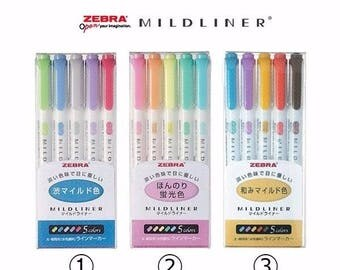 Zebra Highlighter Marker Mildliner WKT7-5C 5 Set/ WKT7-5C-RC 5 Set/WKT7-5C-NC 5 set