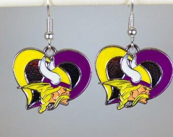 Minnesota Vikings Heart Earrings