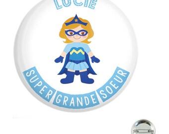 38mm super big sister blue badge