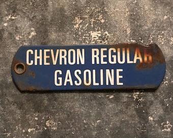 Chevron Regular Gasoline Porcelain Tag