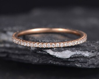 Rose Gold Wedding Band Woman Eternity Ring Stackable Ring Band Diamond Minimalist Delicate Matching Dainty Bridal Promise Ring Anniversary