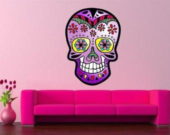 MEXICAN SKULL wall sticker decal Calavera Sugar Skull Tattoo car art vinyl graphic mural