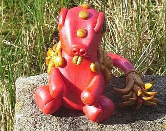Red, gold, cheeky, cute, little, polymer, clay, monster