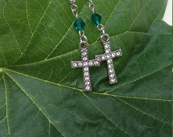Teal silver and clear rhinestone cross earrings