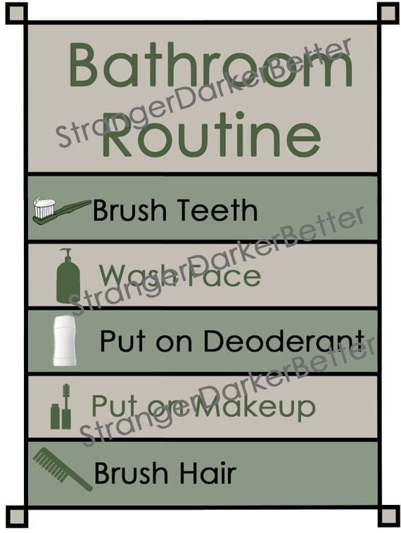 Bathroom Routine Visual Schedule for Adults and Teens Green