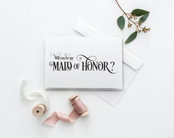 Will You Be My Maid of Honor Card | Printable Wedding Card | Be My Bridesmaid Card | DIY Bridesmaid Proposal Card | Maid Of Honour Card