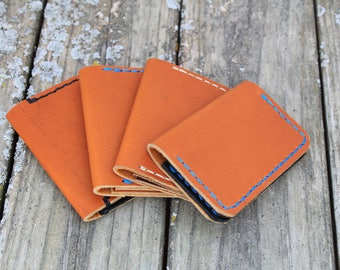 Leather minimalist wallet | leather bi-fold | handmade, hand-stitched | men's wallet | women's wallet | Michigan | USA