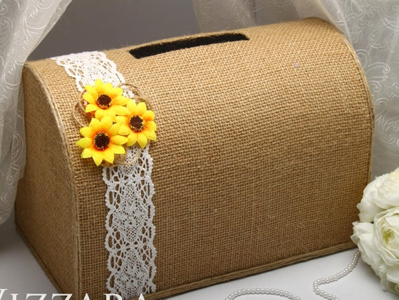 Wedding post box sunflower wedding decor rustic wedding ideas like this item junglespirit Gallery