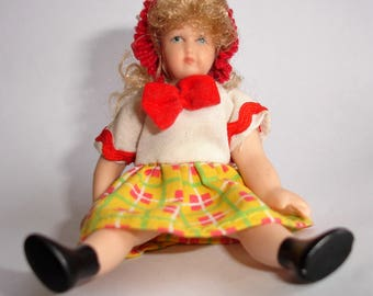 vintage bisque dolls-house doll 9cm tall