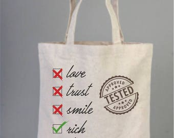Everyday bags, cotton bags, tote bags, check list, stamped check list, cotton tote, everyday bags, love bags, joke gifts, valentines day