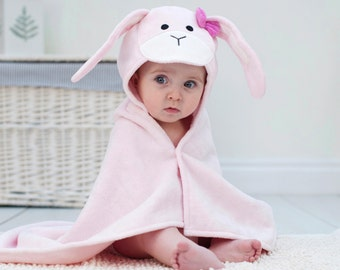 Personalised Pink Bow Bunny Baby Towel