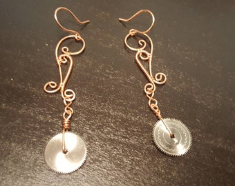 Wire Woven Copper Steampunk Earrings 2 3/4 Inches