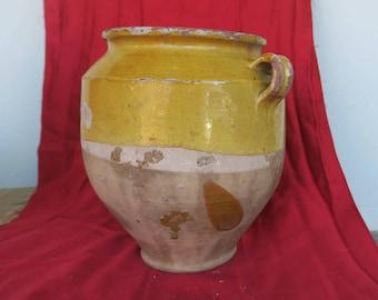 ancien pot à graisse, Sud-Ouest, art populaire de Castelnaudary, old pot with grease, Southwest, folk art_stor gammel fedtpotte