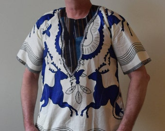 African Men's Handmade Embroidered Shirt